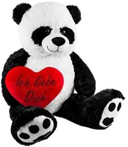 BRUBAKER XXL Panda 100 cm groß mit einem Ich liebe Dich Herz Stofftier Plüschtier Kuscheltier Teddybär - 1