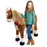 XXL Plüschpferd 105cm - Elsa, das riesige Reitpferd für Kinder, ein tolles Stehpferd Spiel-pferde XXL Pferd zum Draufsitzen inkl. kleiner Bürste, 100kg Tragkraft - ein Kindertraum für Mädchen! Farbe: braun/blonde Mähne - 1
