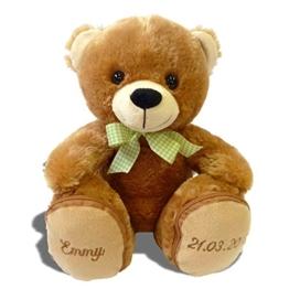 Plüschbär Emmy individuell bestickt, knuddeliges Stofftier individualisiert mit eigenen Daten, Geschenk mit Namen, kuscheliger personalisierter Bär, Plüschtier mit Bestickung, Teddy zur Geburt - 1