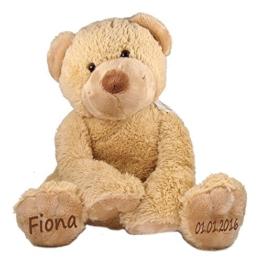 Stofftier Teddy Bär Geschenk mit Namen und Geburtsdatum personalisiert 25cm - 1