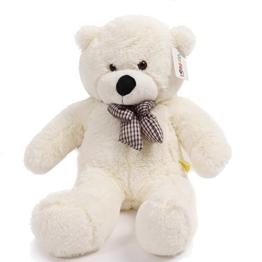 YunNasi 120 cm Riesige Teddybär Kuscheltier Puppe mit Eleganter Schleife Weiß - 1